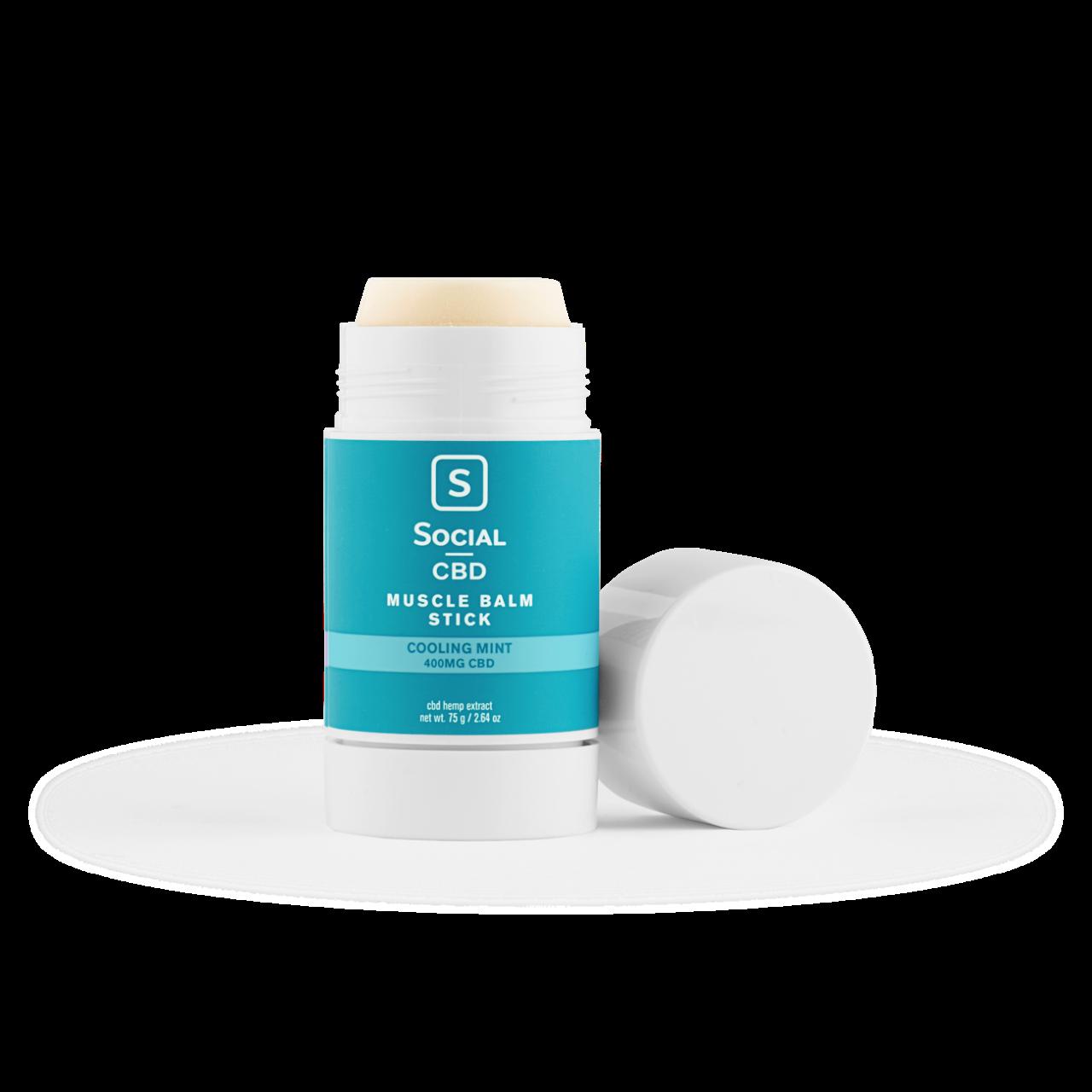 Social CBD, Cooling Mint CBD Muscle Balm Stick, Isolate THC-Free, 2.64oz, 400mg CBD 1