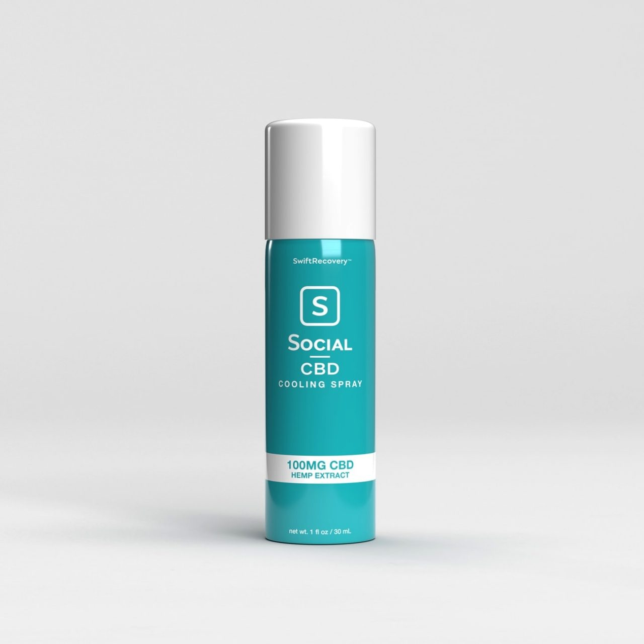 Social CBD, Cooling Spray 100MG, Isolate THC-Free, 1oz, 100mg CBD 1