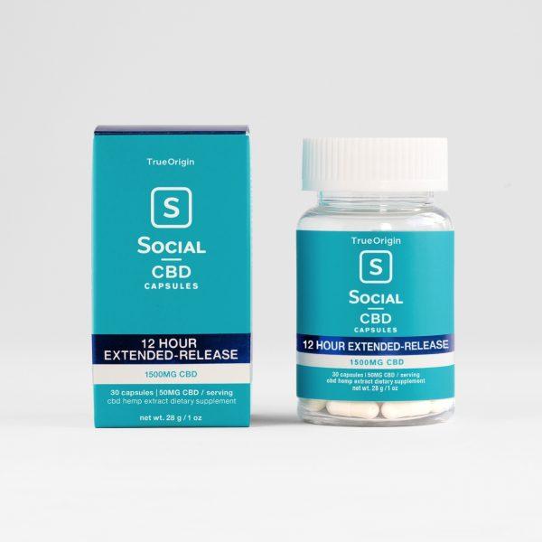 Social CBD, Extended Release CBD Gel Capsules, Broad Spectrum THC-Free, 30ct, 1500mg CBD