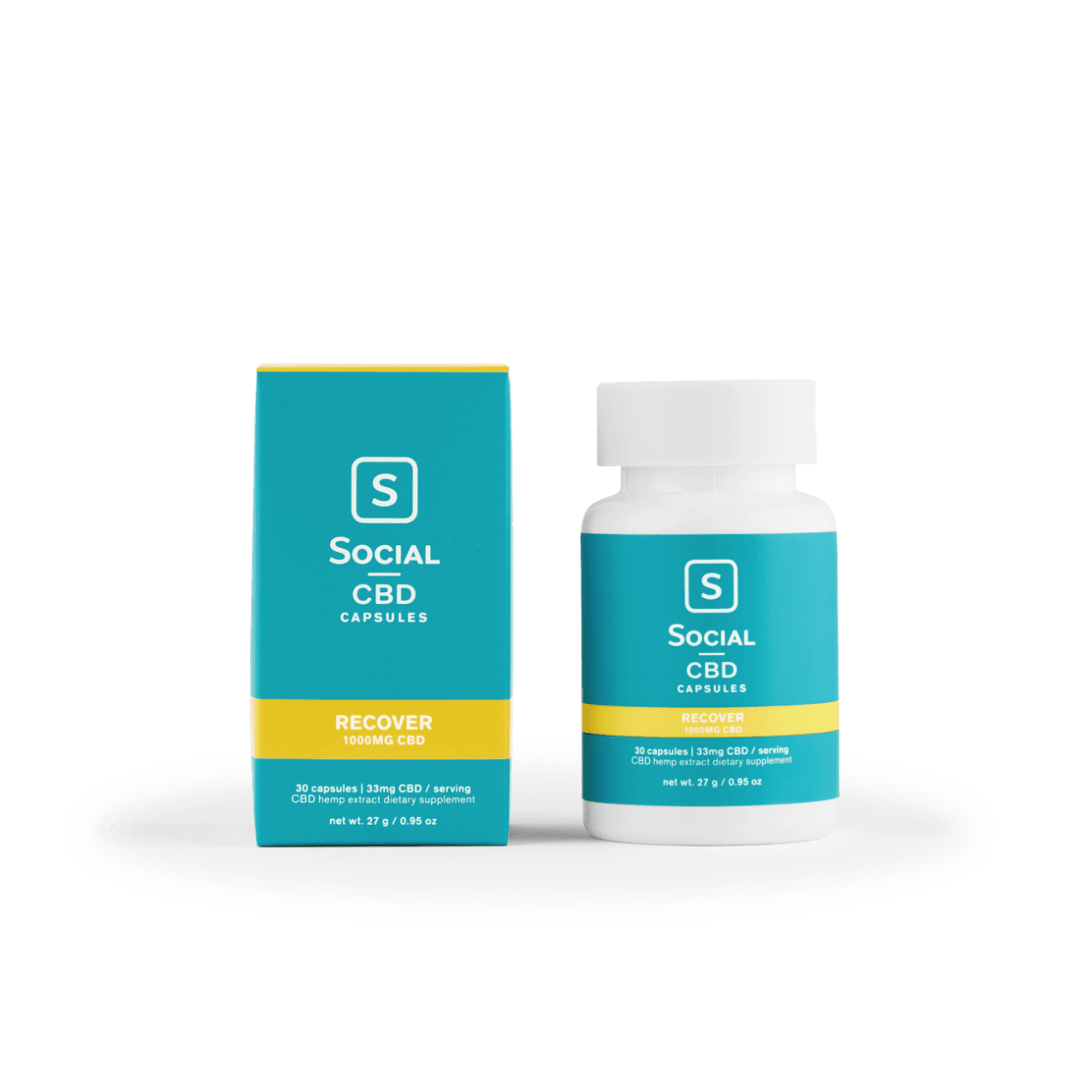 Social CBD, Recover CBD Gel Capsules, Isolate THC-Free, 30ct, 1000 CBD 1