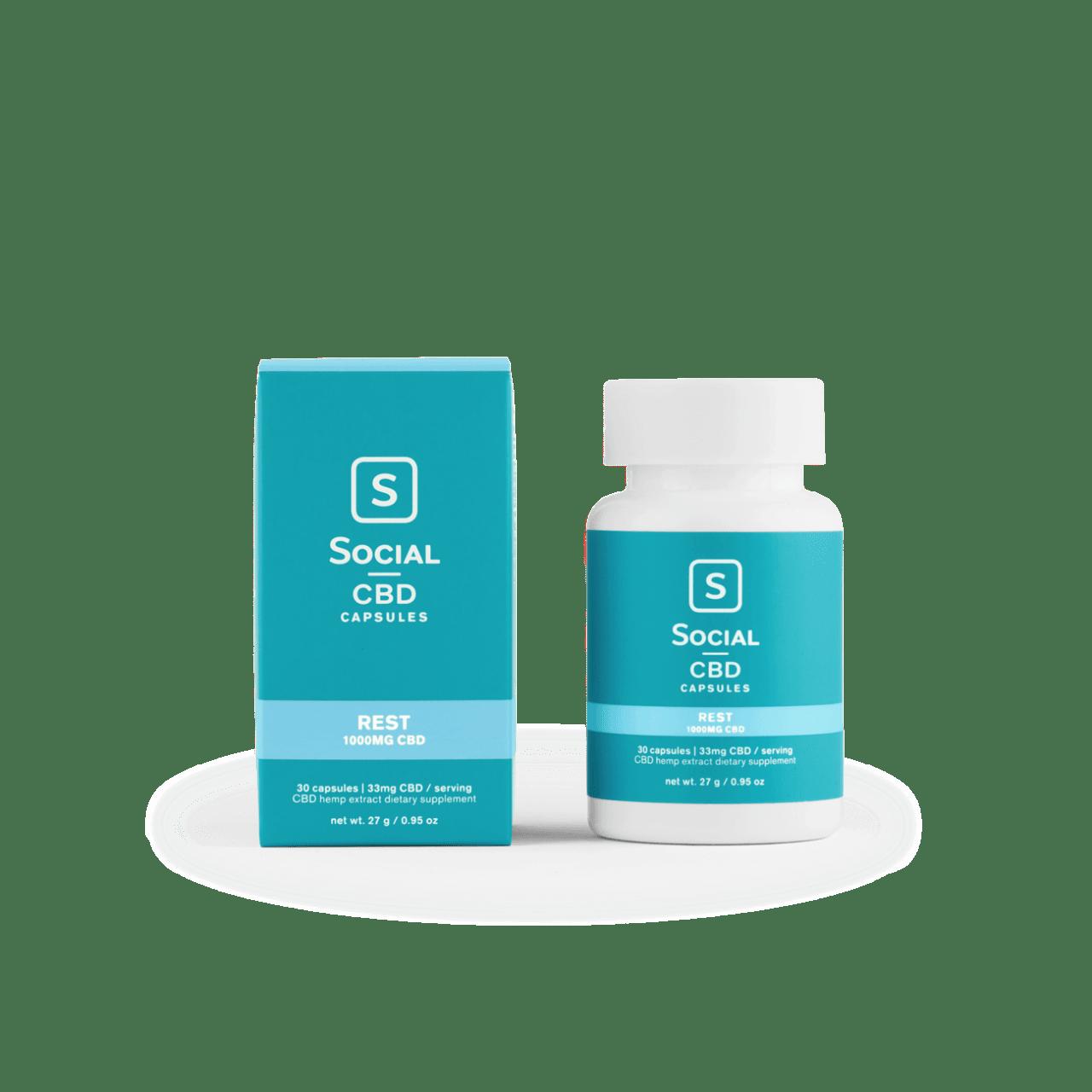 Social CBD, Rest CBD Gel Capsules, Isolate THC-Free, 30ct, 1000 CBD 1