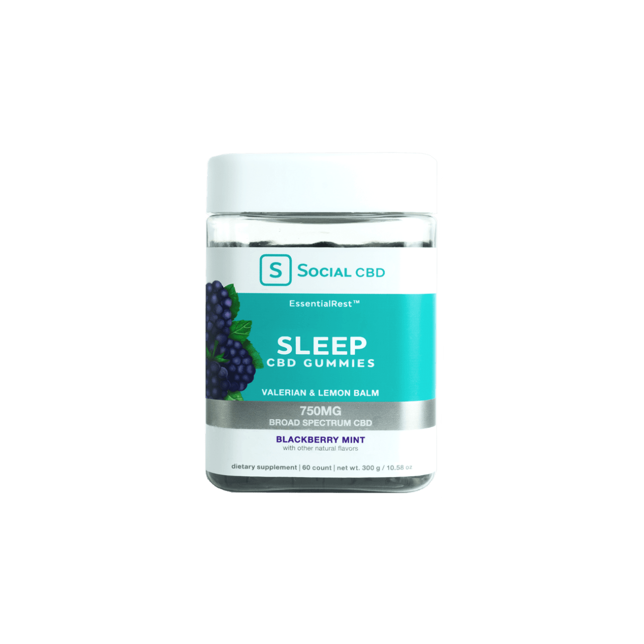 Social CBD, Sleep CBD Gummies Blackberry Mint, Broad Spectrum THC-Free, 60ct, 750 CBD 1