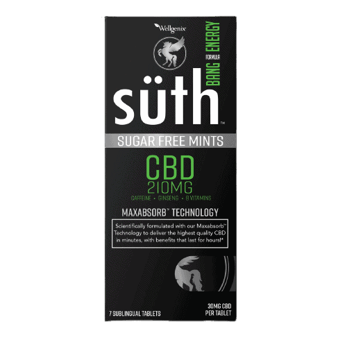 Suth, CBD Sublingual Mints, Bang Energy with Caffeine, 7-Count, 210mg CBD