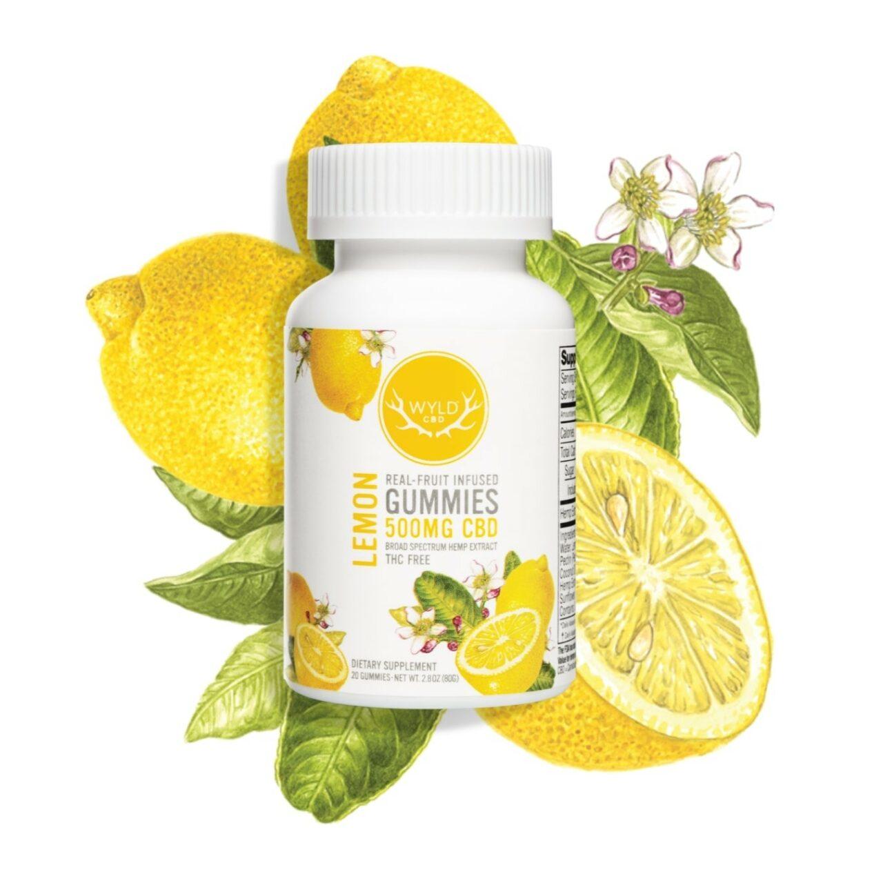 Wyld CBD, Lemon Gummies, Broad Spectrum THC-Free, 20ct, 500mg CBD