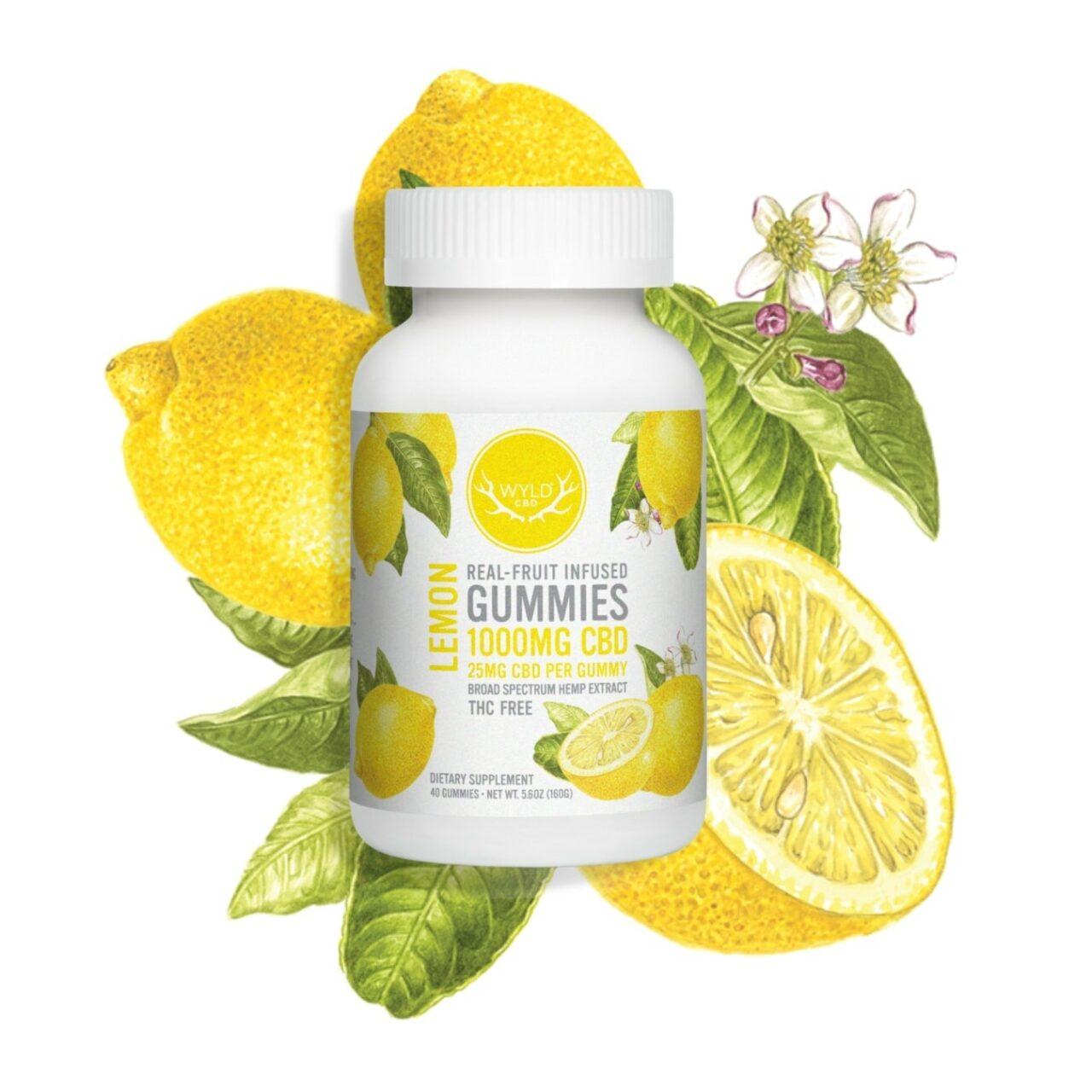 Wyld CBD, Lemon Gummies, Broad Spectrum THC-Free, 40ct, 1000mg CBD