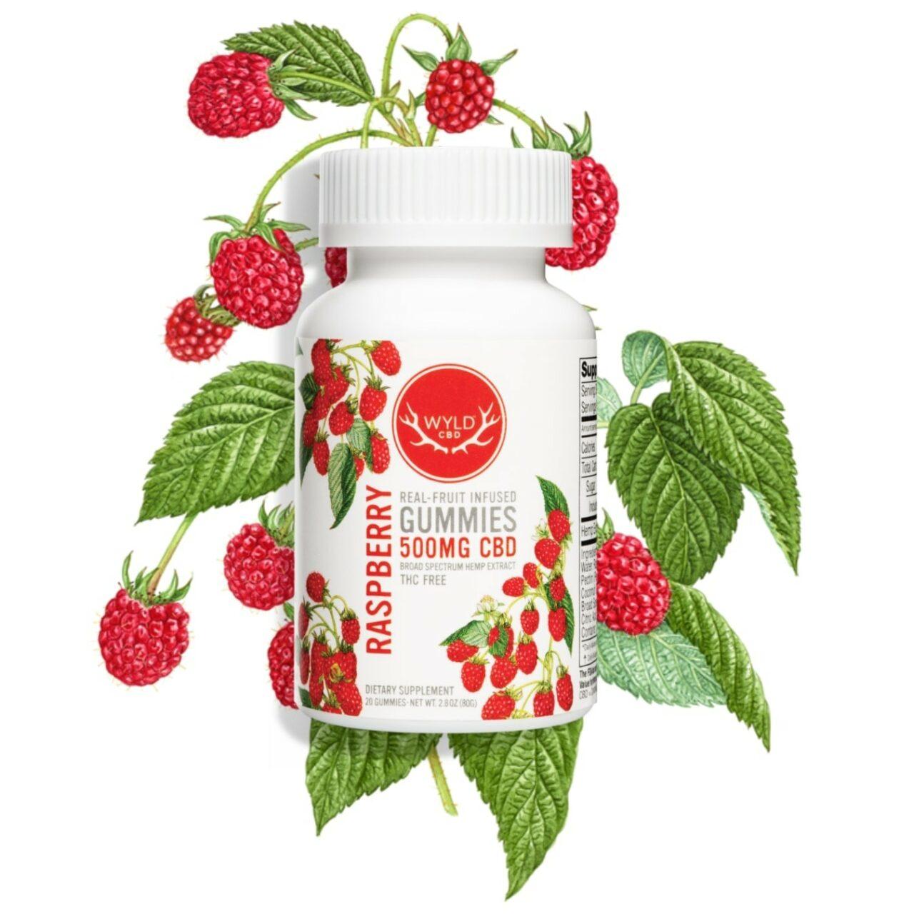 Wyld CBD, Raspberry Gummies, Broad Spectrum THC-Free, 20ct, 500mg CBD3