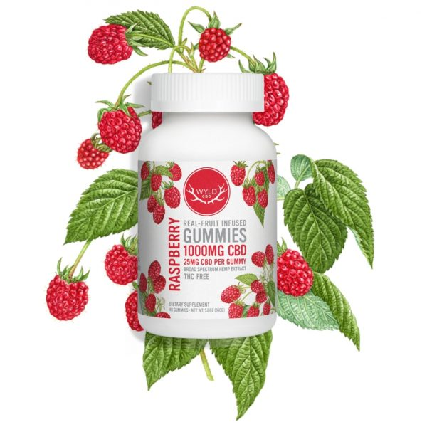 Wyld CBD, Raspberry Gummies, Broad Spectrum THC-Free, 40ct, 1000mg CBD