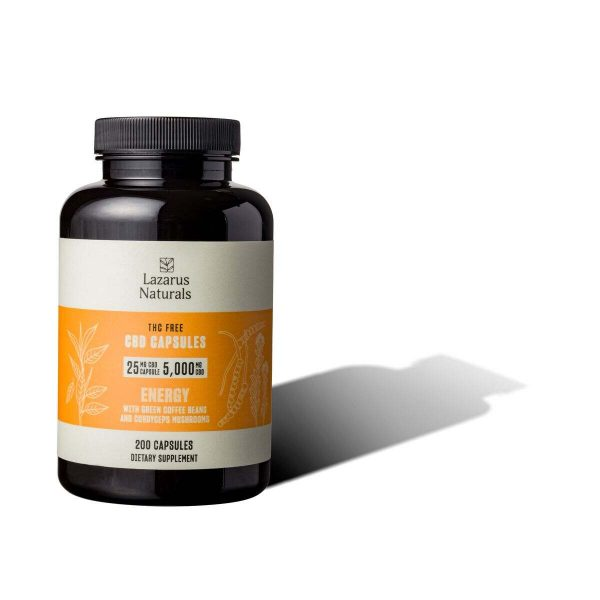 Lazarus Naturals, 25mg CBD Isolate Capsules Energy Blend, 200 capsules, 5000mg CBD