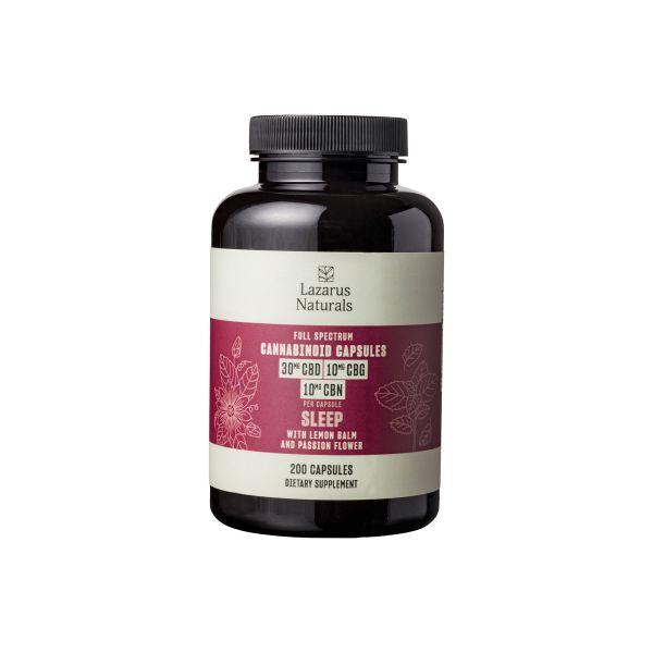 Lazarus Naturals, Sleep Cannabinoid Capsules, Full Spectrum, 200ct, 2000mg CBG + 2000mg CBN + 6000mg CBD