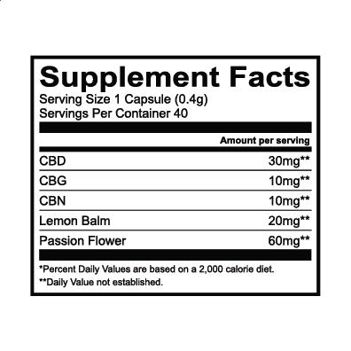 Lazarus Naturals, Sleep Cannabinoid Capsules, Full Spectrum, 40ct, 400mg CBG + 400mg CBN + 1200mg CBD 3