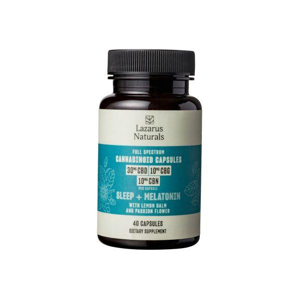 Lazarus Naturals, Sleep + Melatonin Cannabinoid Capsules, Full Spectrum, 40ct, 400mg CBG + 400mg CBN + 1200mg CBD 1