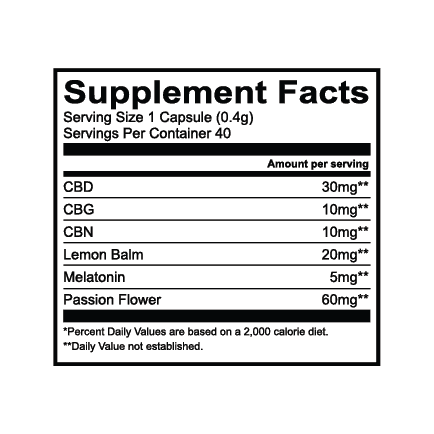 Lazarus Naturals, Sleep + Melatonin Cannabinoid Capsules, Full Spectrum, 40ct, 400mg CBG + 400mg CBN + 1200mg CBD 3