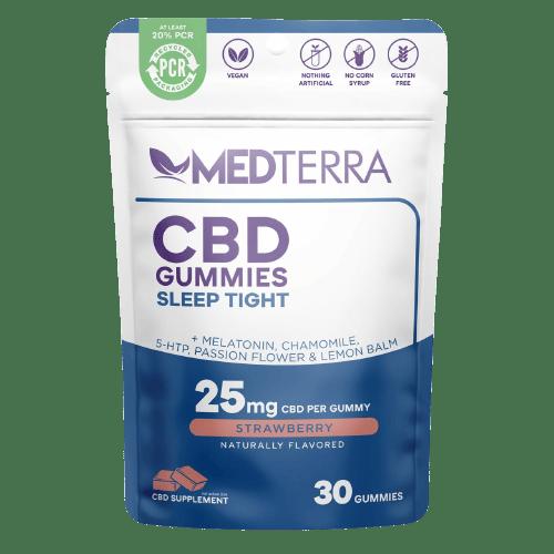 Medterra, CBD Gummies, Sleep Tight, Isolate THC-Free, Strawbery, 30ct, 750mg CBD