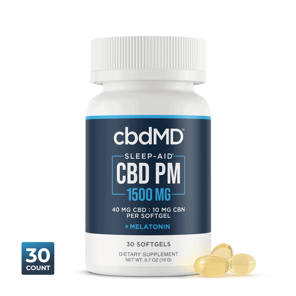 cbdMD, CBD PM Softgel Melatonin Capsules, Broad Spectrum THC-Free, 30ct, 300mg CBN + 1200mg CBD