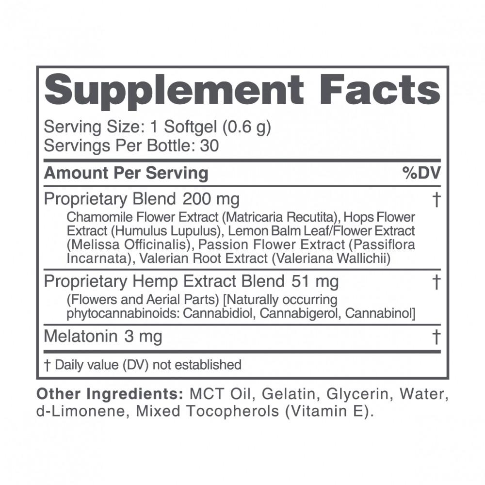 cbdMD, CBD PM Softgel Melatonin Capsules, Broad Spectrum THC-Free, 30-Count, 300mg CBN + 1200mg CBD 2