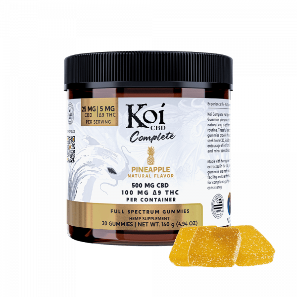 Koi CBD, Complete Full Spectrum CBD Gummies, Pineapple, 20ct, 500mg CBD