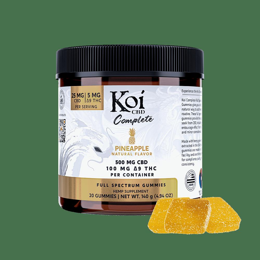 Koi CBD, Complete Full Spectrum CBD Gummies, Pineapple, 20ct, 500mg CBD 1