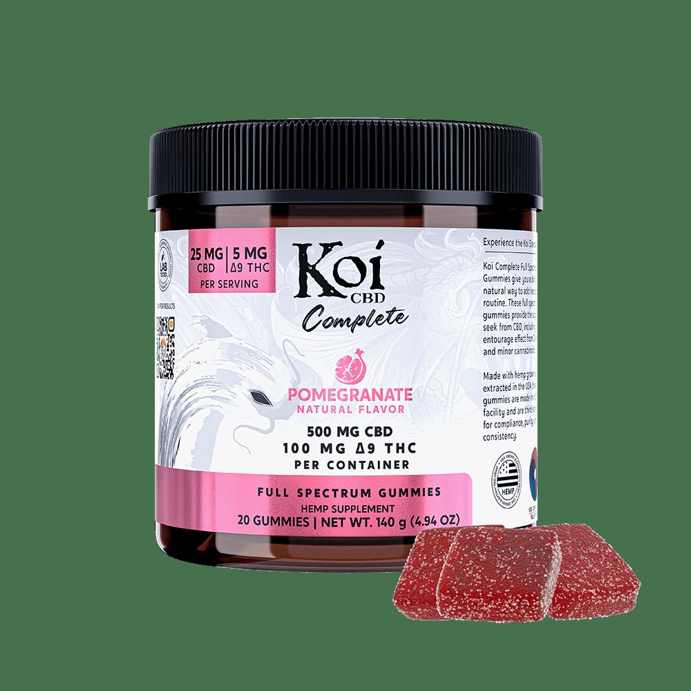Koi CBD, Complete Full Spectrum CBD Gummies, Pomegranate, 20ct, 500mg CBD 1