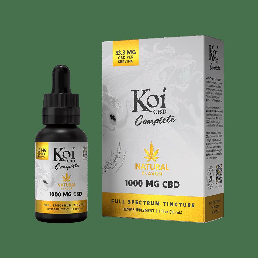 Koi CBD, Complete Full Spectrum CBD Tincture, Natural Hemp Flavor, 30ml, 1000mg CBD 1