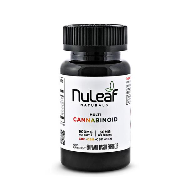 NuLeaf Naturals, Multicannabinoid Capsules CBD+CBC+CBG+CBN, Full Spectrum, 60ct, 900mg Multi 1