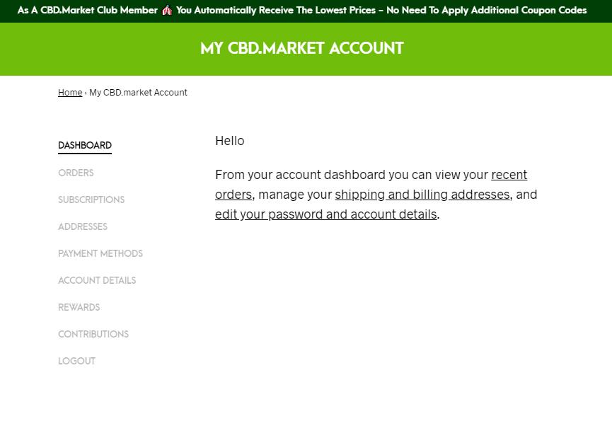 CBD.market account dashboard