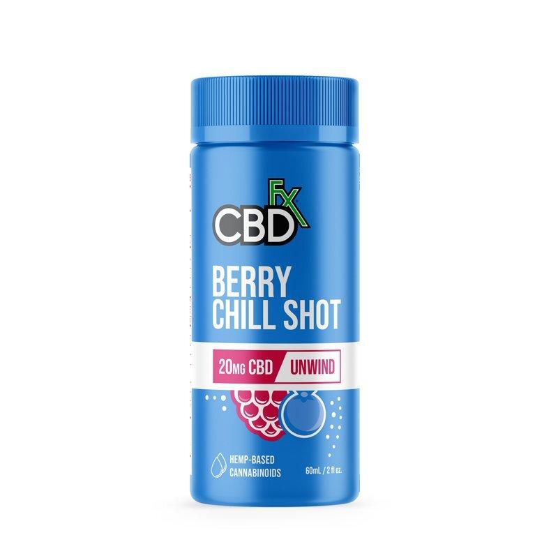 CBDfx, CBD Chill Shots 20mg Unwind, Berry, Broad Spectrum THC-Free, 6ct, 120mg CBD 1