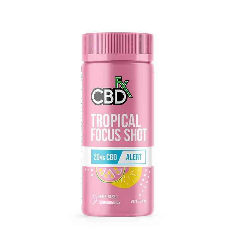 CBDfx, CBD Focus Shots 20mg Alert, Tropical, Broad Spectrum THC-Free, 6ct, 120mg CBD 1 (2)