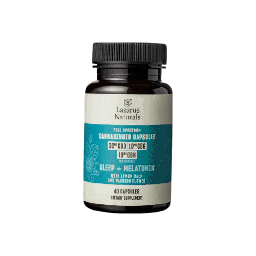 Lazarus Naturals, Sleep + Melatonin Cannabinoid Capsules, Full Spectrum, 40ct, 400mg CBG + 400mg CBN + 1200mg CBD