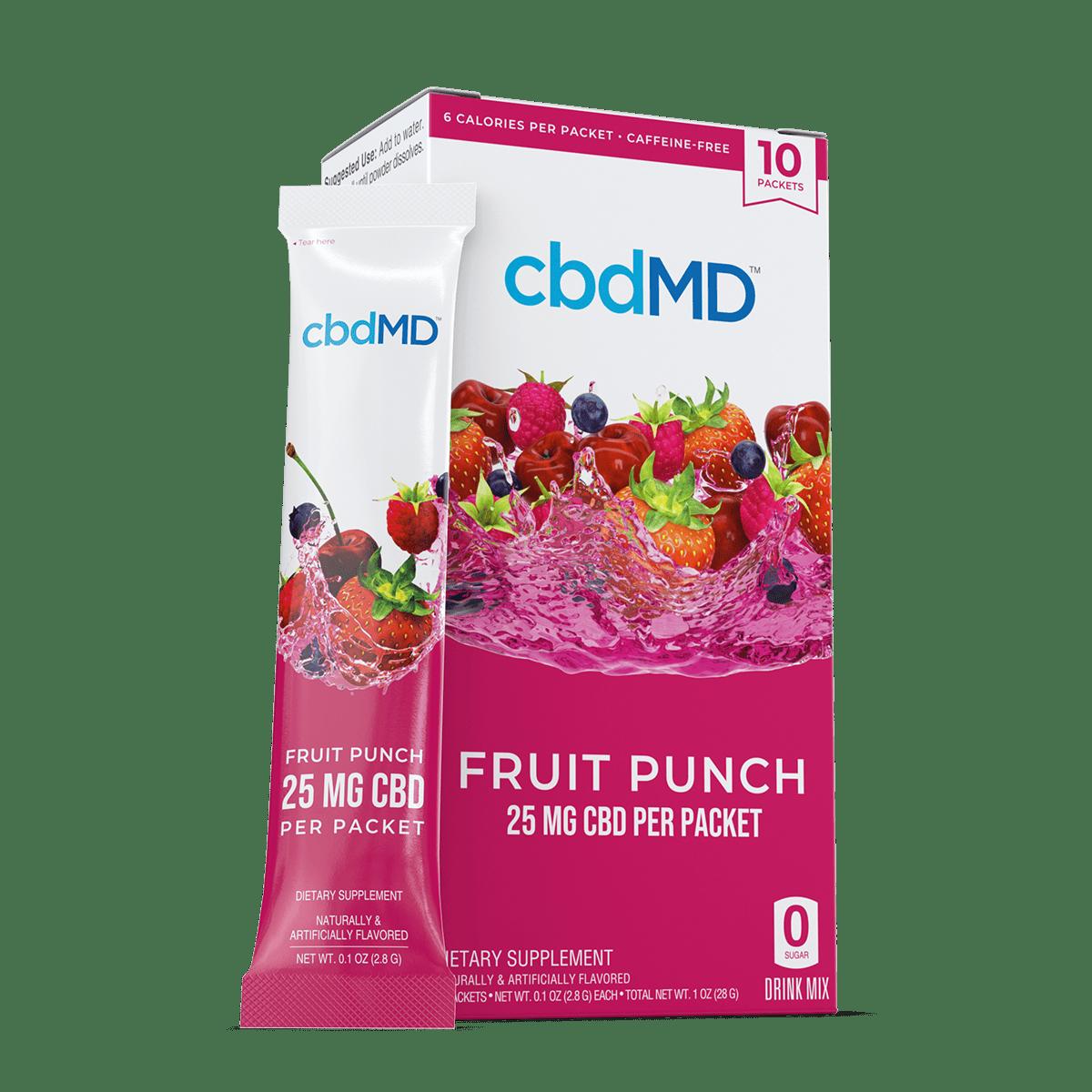 cbdMD, CBD Powdered Drink Mix, Broad Spectrum THC-Free, Fruit Punch, 10ct, 250mg CBD 1