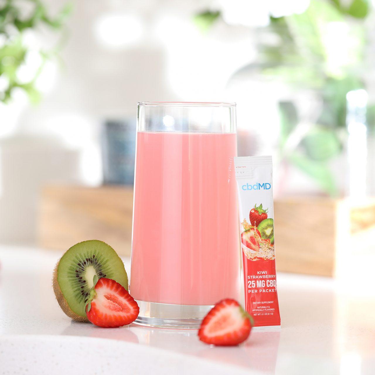 cbdMD, CBD Powdered Drink Mix, Broad Spectrum THC-Free, Kiwi Strawberry, 10ct, 250mg CBD 3