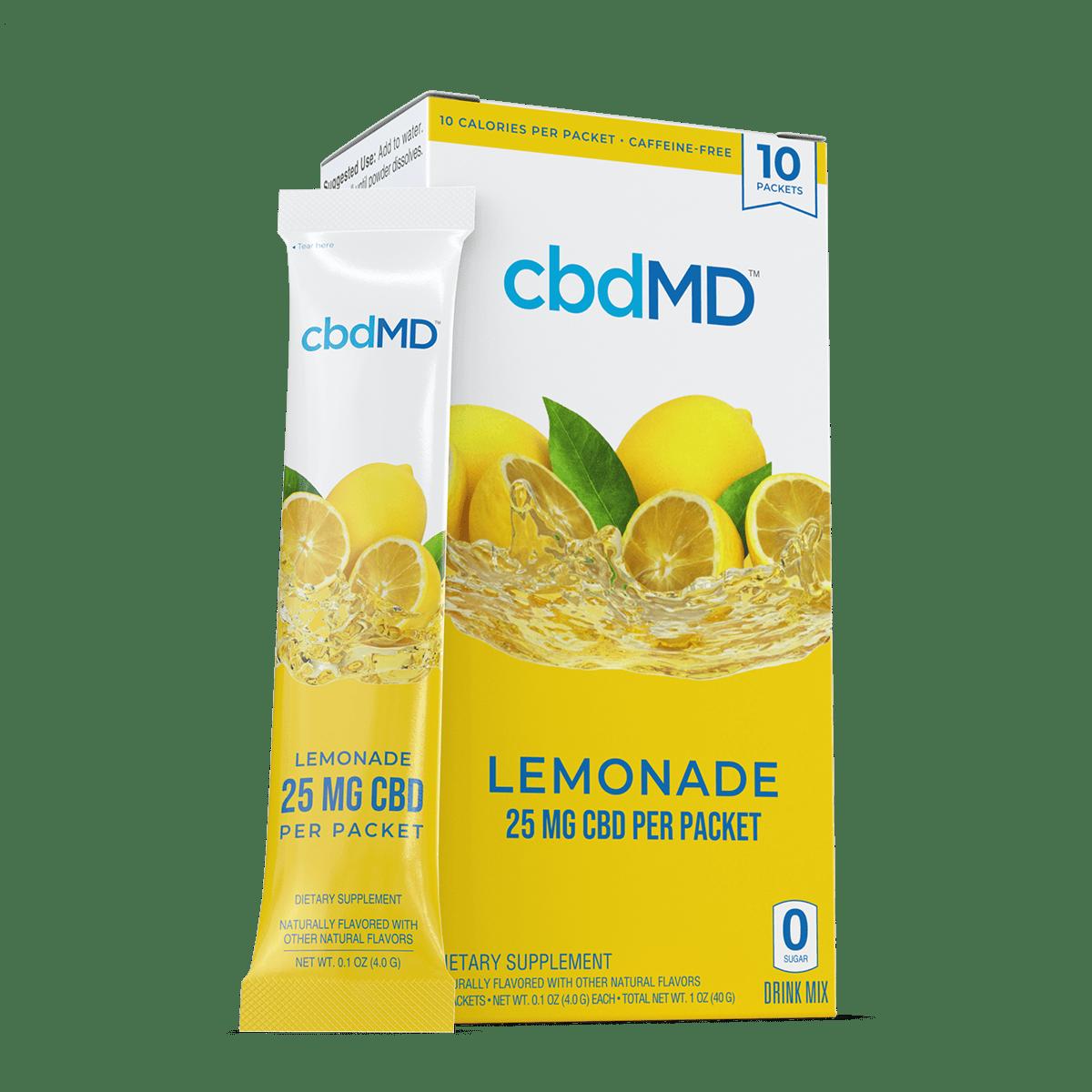 cbdMD, CBD Powdered Drink Mix, Broad Spectrum THC-Free, Lemonade, 10ct, 250mg CBD 1