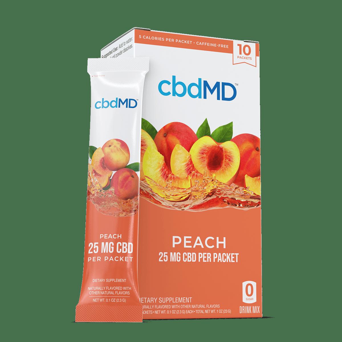 cbdMD, CBD Powdered Drink Mix, Broad Spectrum THC-Free, Peach, 10ct, 250mg CBD 1