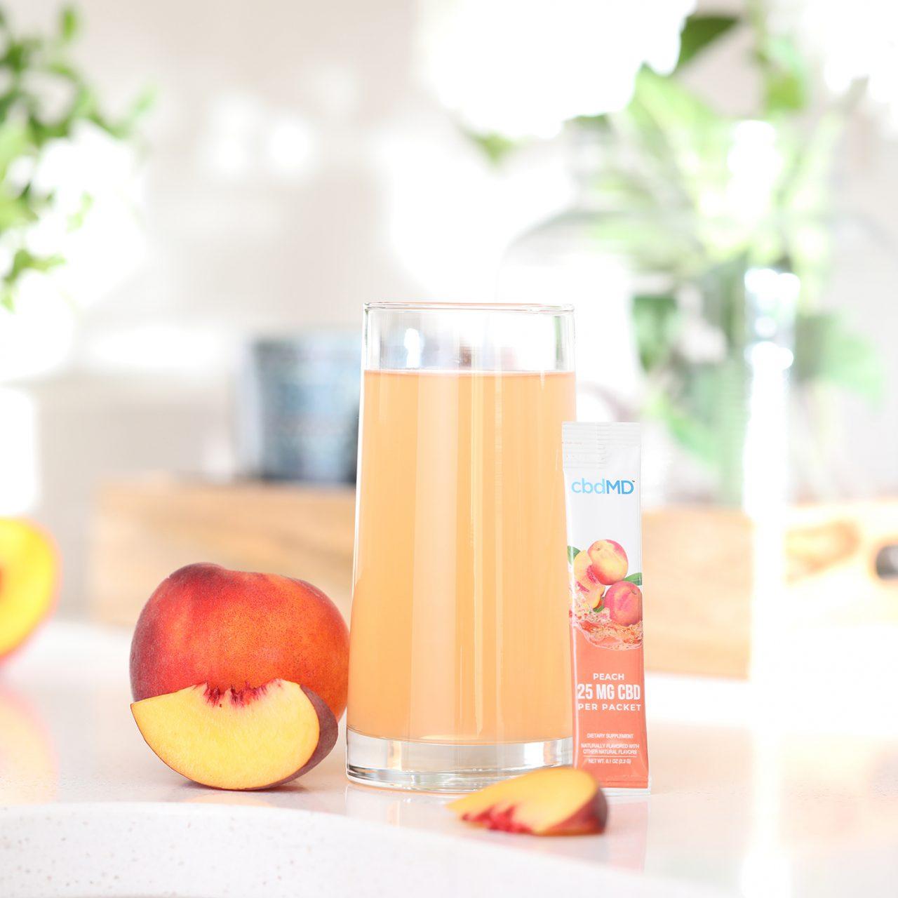 cbdMD, CBD Powdered Drink Mix, Broad Spectrum THC-Free, Peach, 10ct, 250mg CBD 3