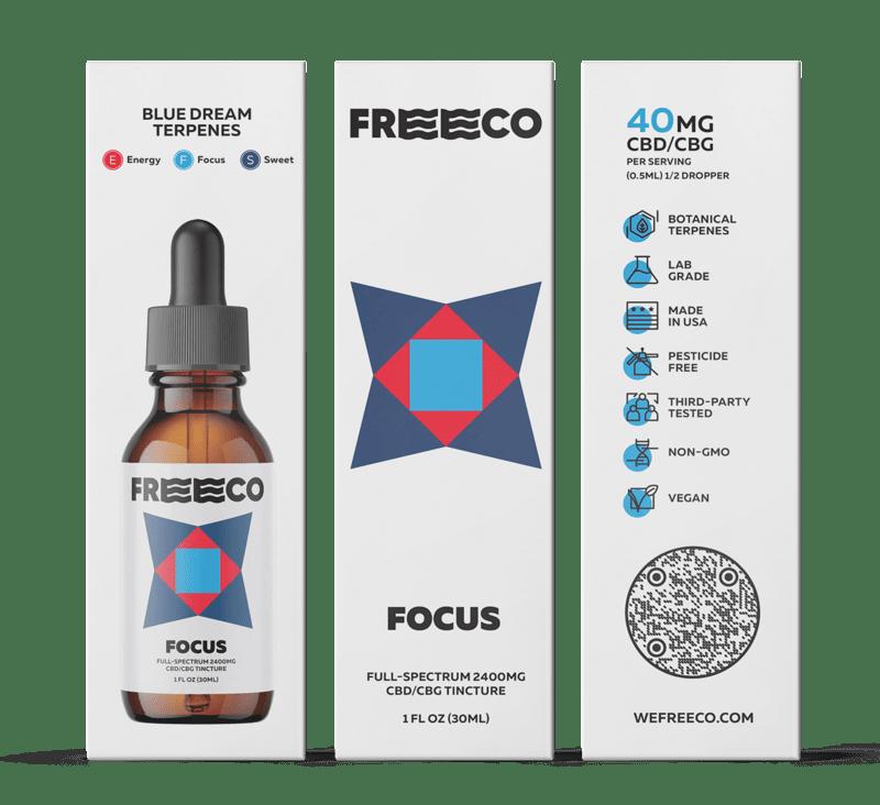 Freeco, Focus CBG Oil, Full Spectrum,1oz, 1200mg CBG + 1200mg CBD 2