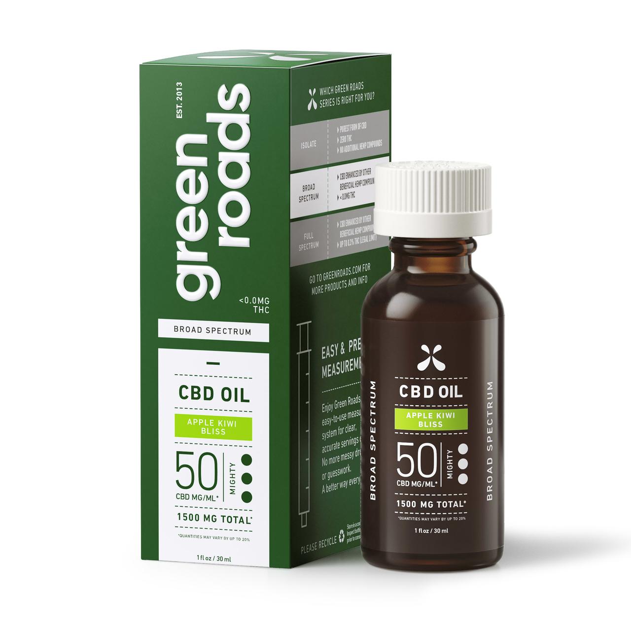 Green Roads, CBD Oil, Broad Spectrum, Apple Kiwi Bliss, 1oz, 50MG:ML, 1500mg of CBD 1