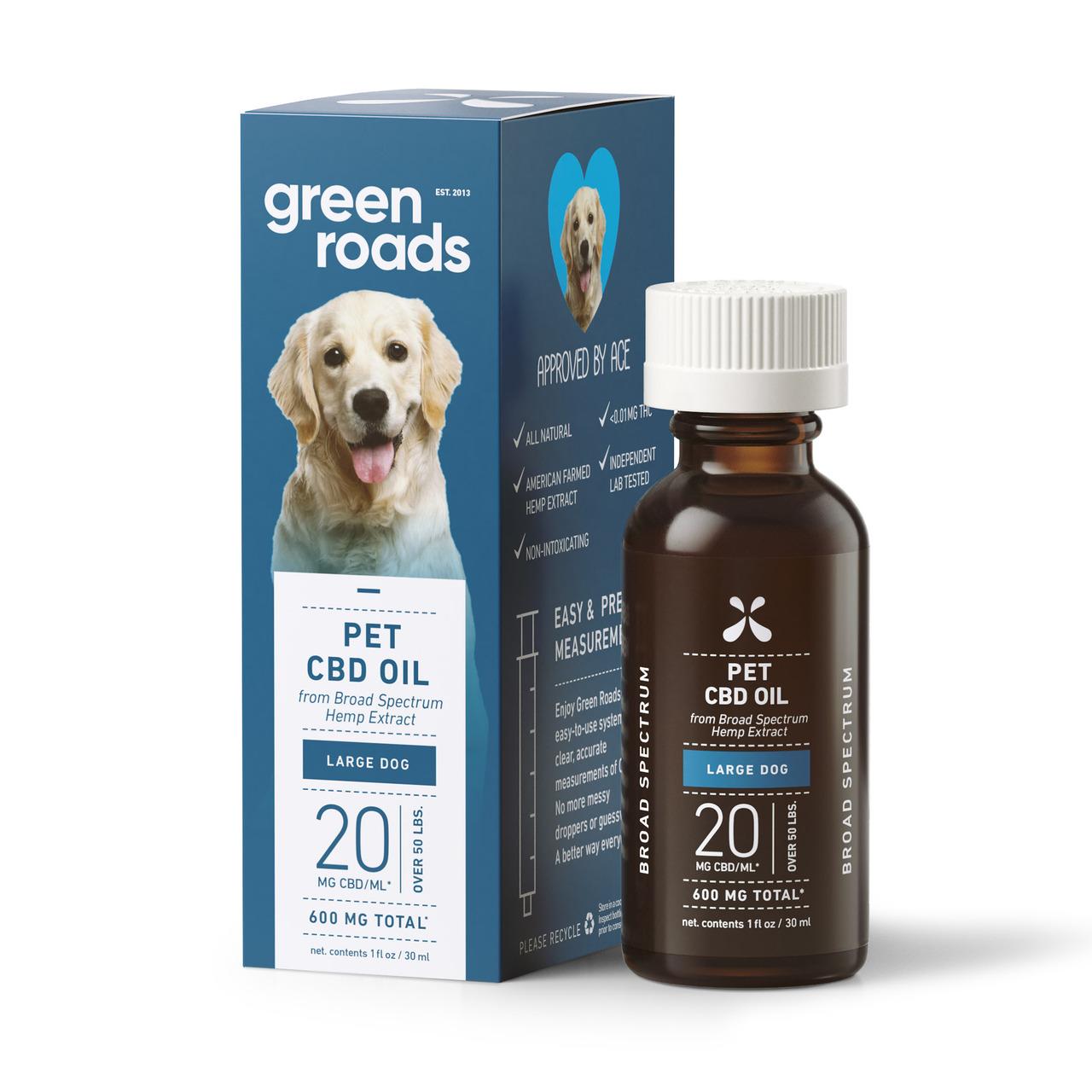 Green Roads, Pet CBD Drops Large Dog, Broad Spectrum, 1oz, 20MG:ML, 600mg of CBD 1