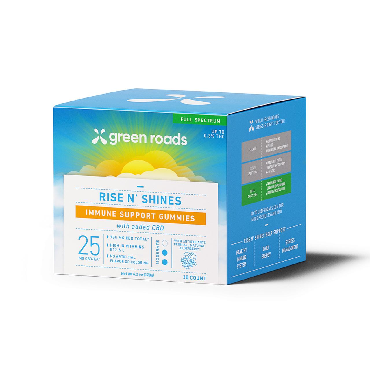 Green Roads, Rise N' Shines Immune Support CBD Gummies, Full Spectrum, 30ct, 750mg CBD 1