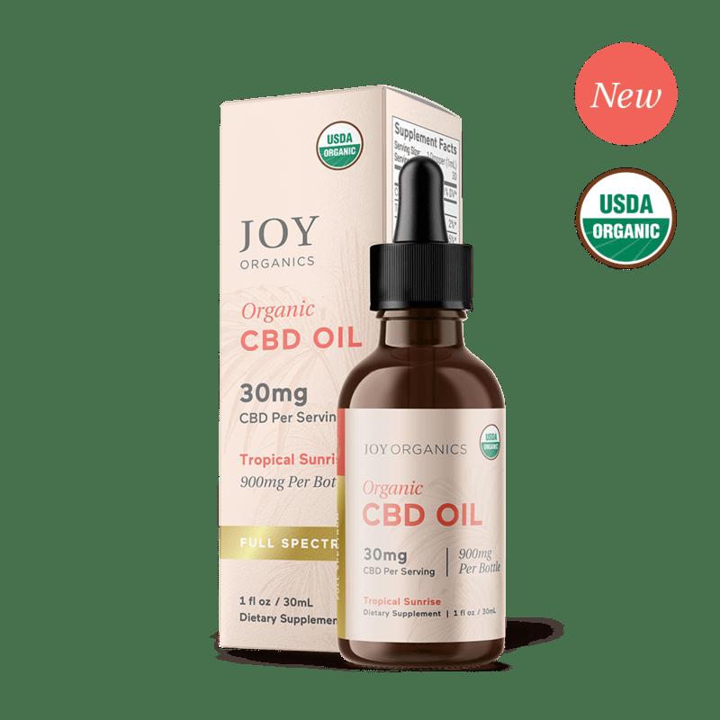 Joy Organics, Tropical Sunrise Organic CBD Tincture, Full Spectrum, 1oz, 900mg CBD 1